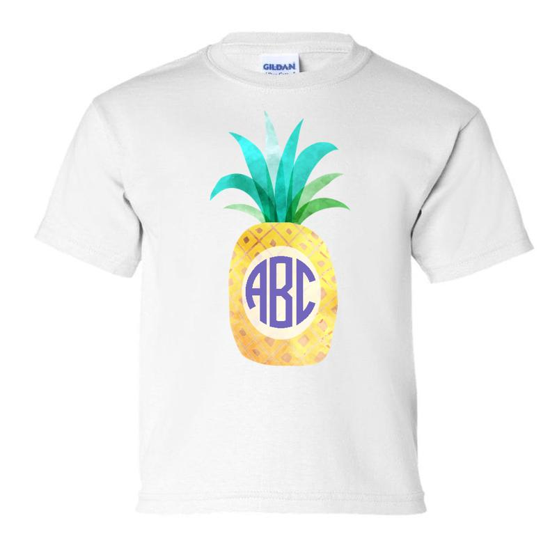Kids Monogrammed 'Watercolor Pineapple' T-Shirt