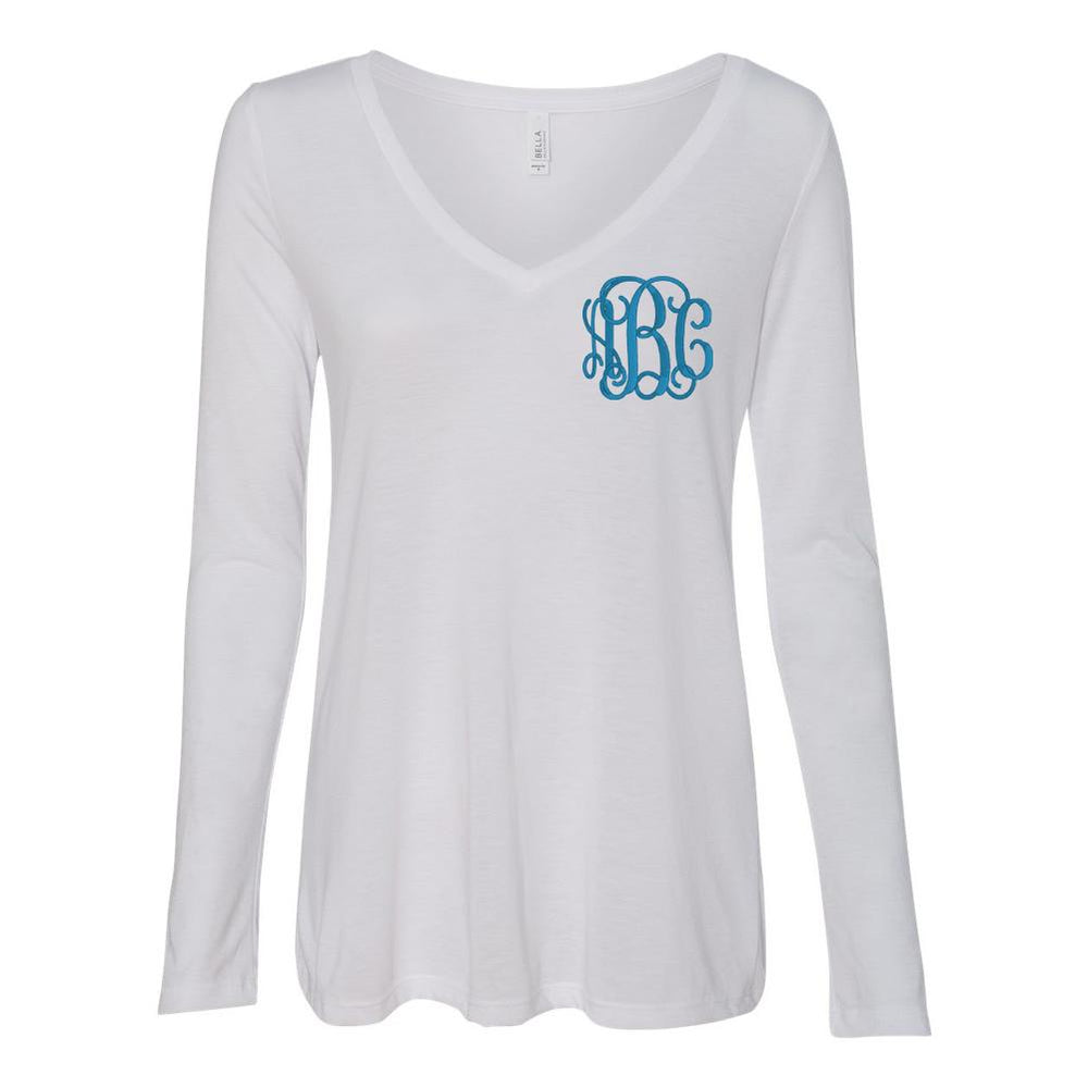 Monogrammed Flowy Long Sleeve V-Neck