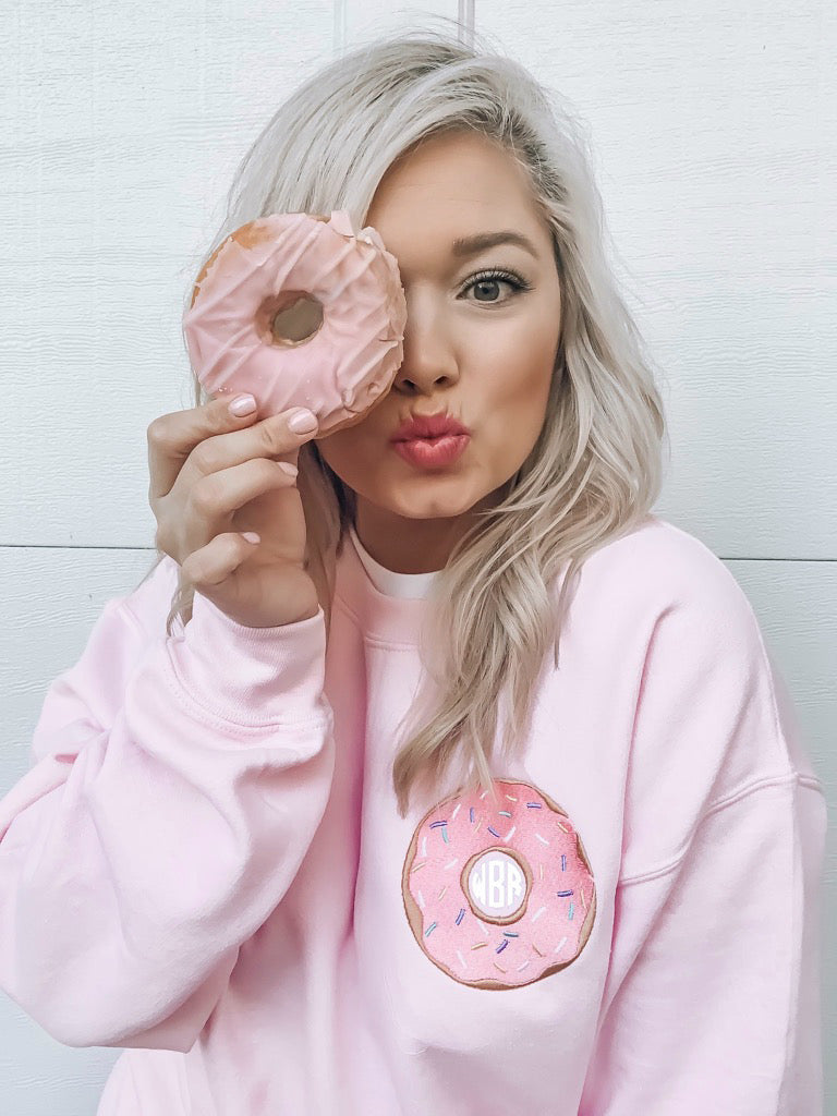 Whitney United Monograms Blogger Influencer- Donut Pink Sweatshirt
