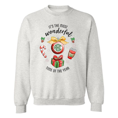 Monogrammed Holiday 'Most Wonderful Time' Crewneck Sweatshirt