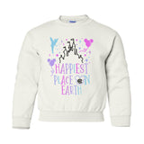 Kids Monogrammed 'Happiest Place on Earth' Crewneck Sweatshirt