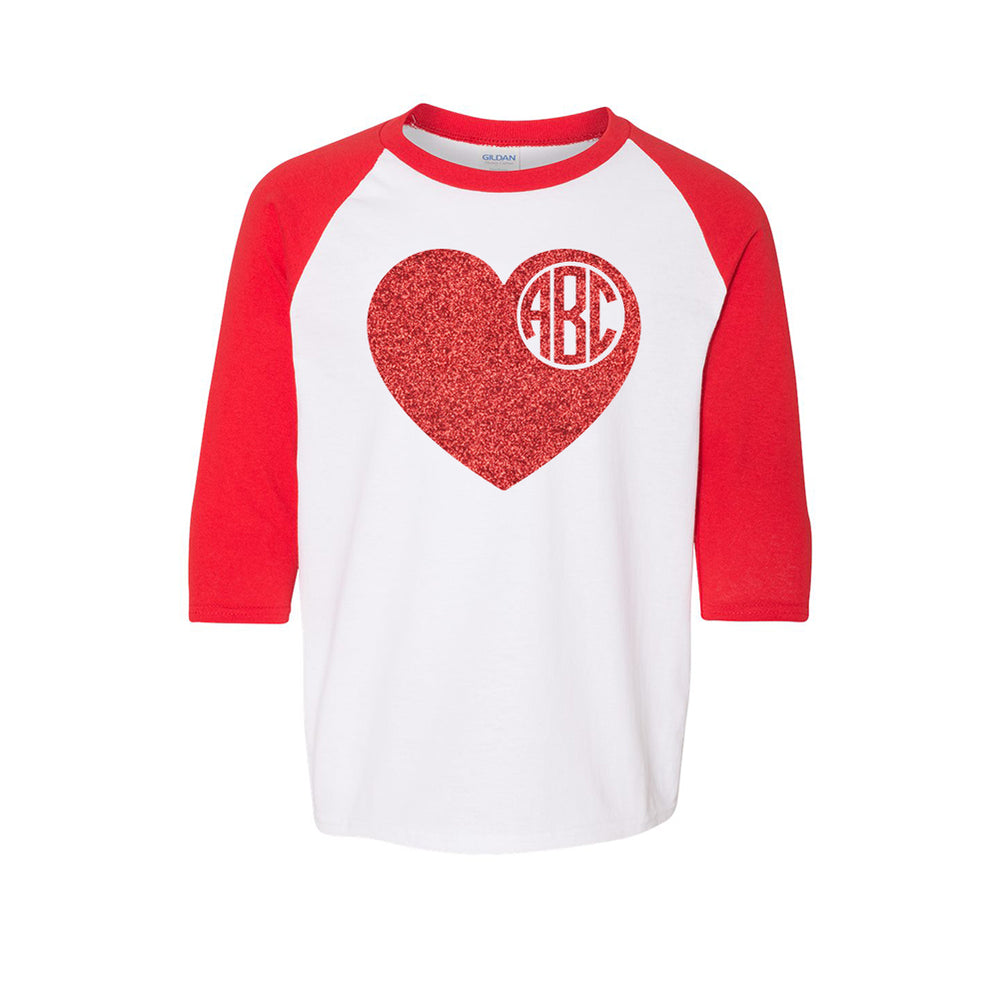 Youth Baseball Tee Glitter Monogram