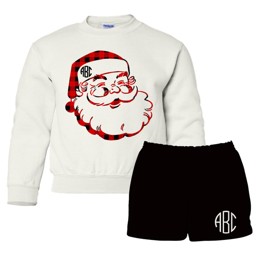 Kids Monogrammed 'Plaid Santa' Lounge Set Package