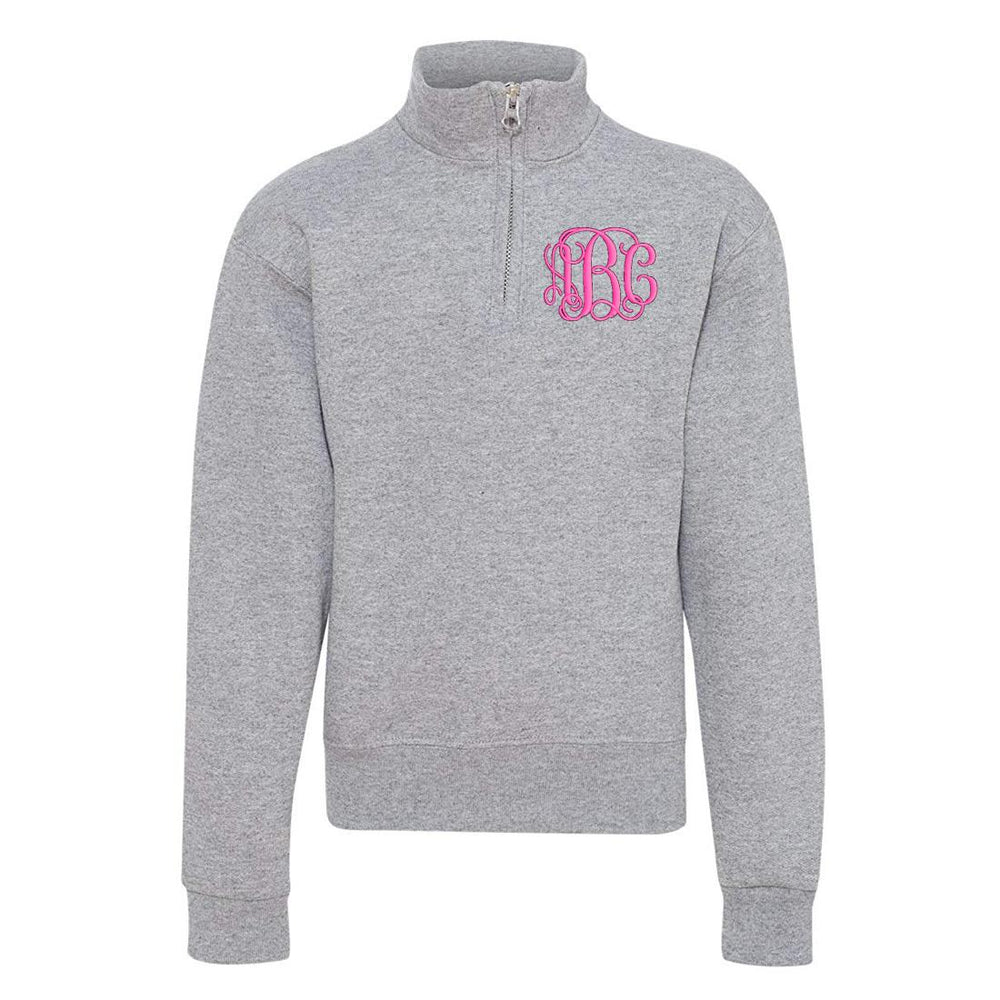 Oxford Kids Monogrammed Quarter Zip Sweatshirt Youth Sizes