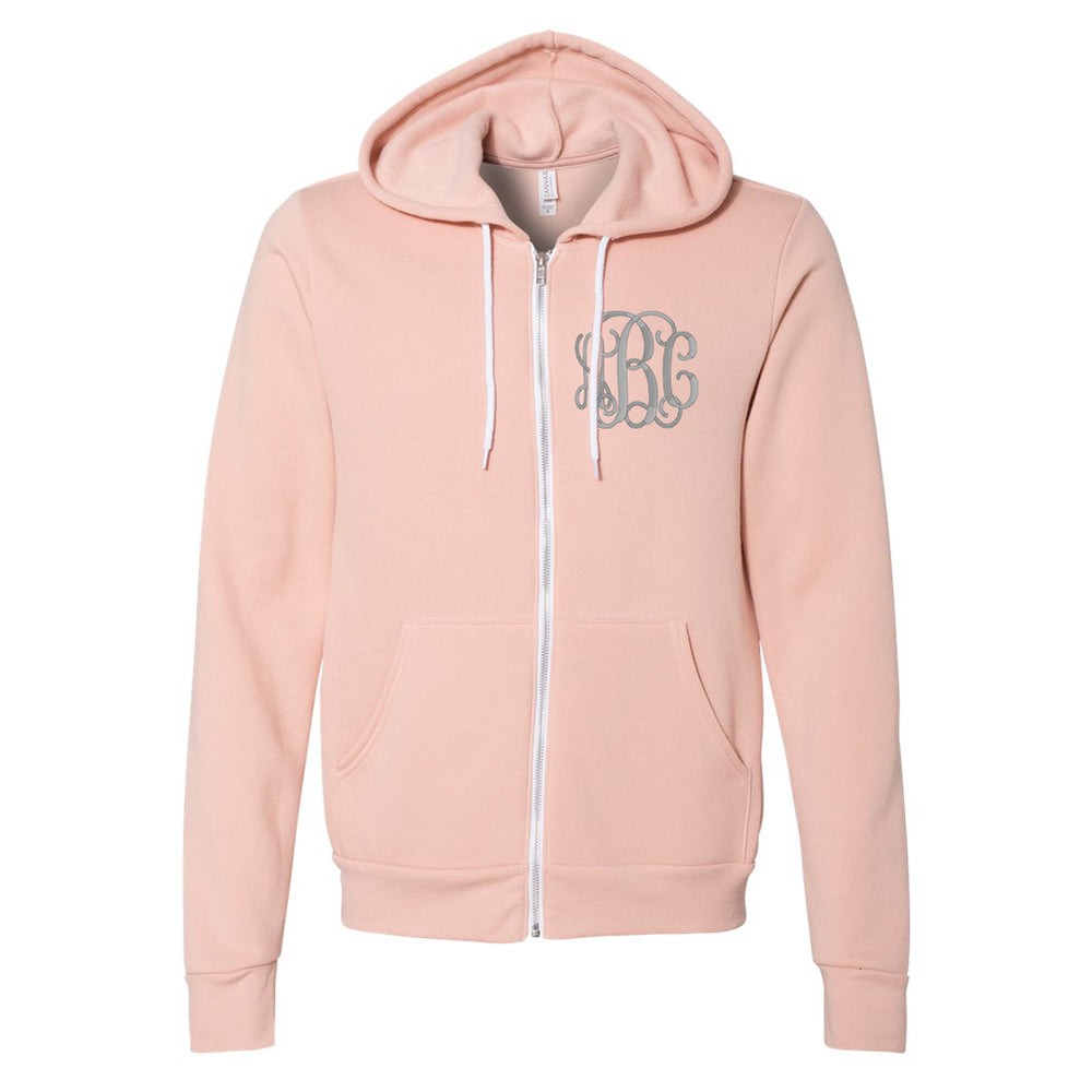 Monogrammed Fleece Full Zip Hoodie