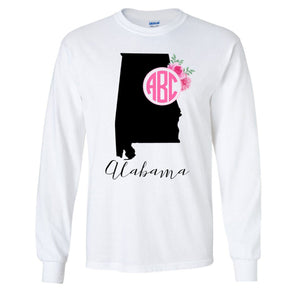 Monogrammed 'State Pride' Long Sleeve T-Shirt