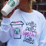 United Monograms Fall Coffee Monogrammed Tee