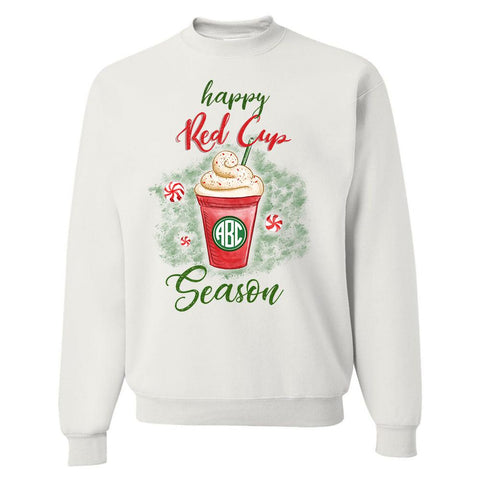 Monogrammed 'Happy Red Cup Season' Crewneck Sweatshirt