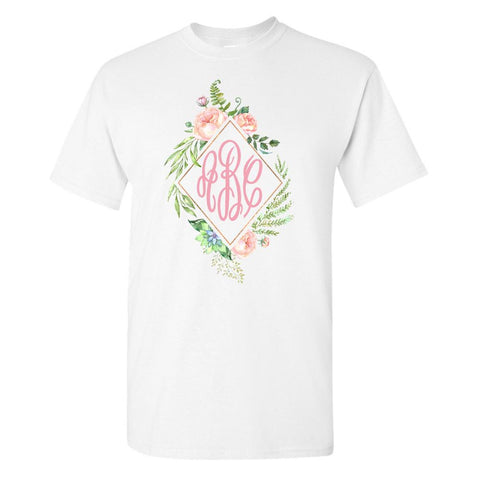 Monogrammed 'Floral Diamond' Big Print T-Shirt