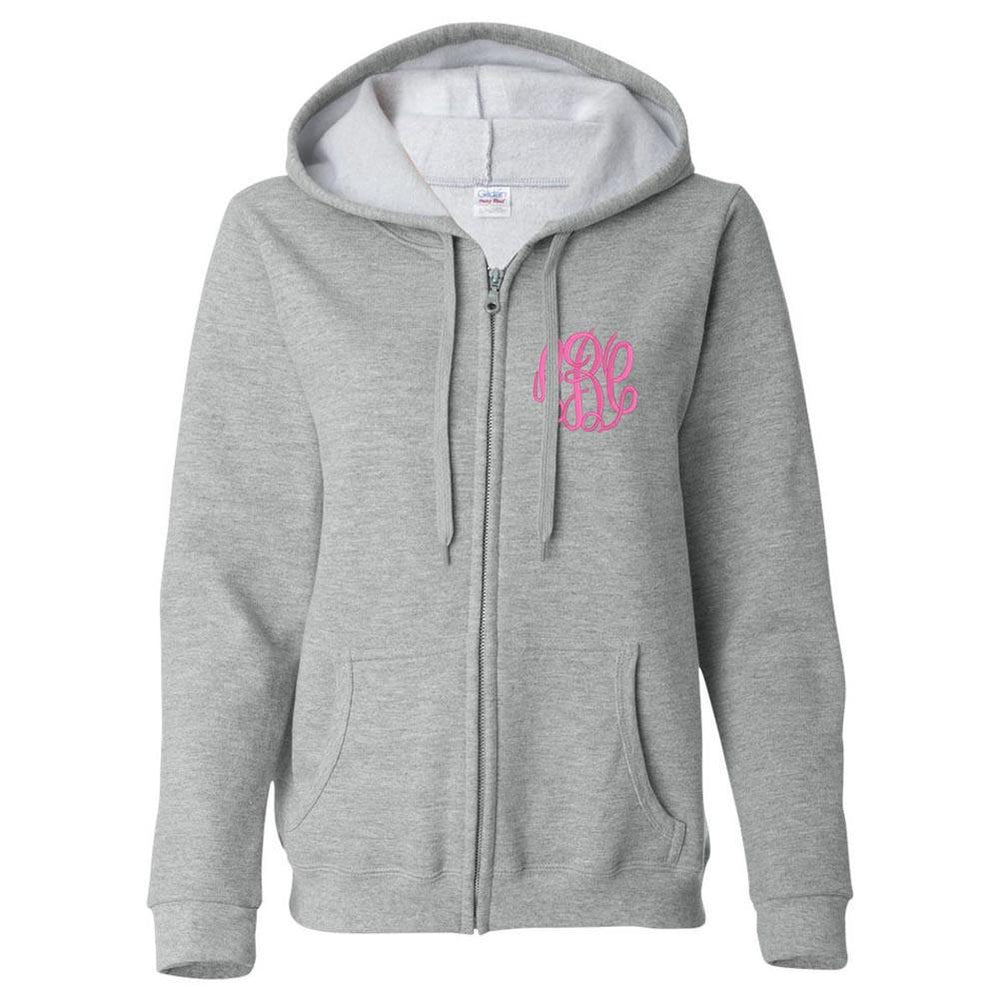 Monogrammed Full Zip Ladies Hooded Sweatshirt