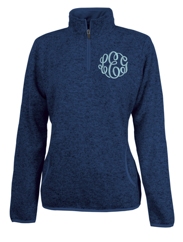 Monogrammed Fitted Heathered Pullover