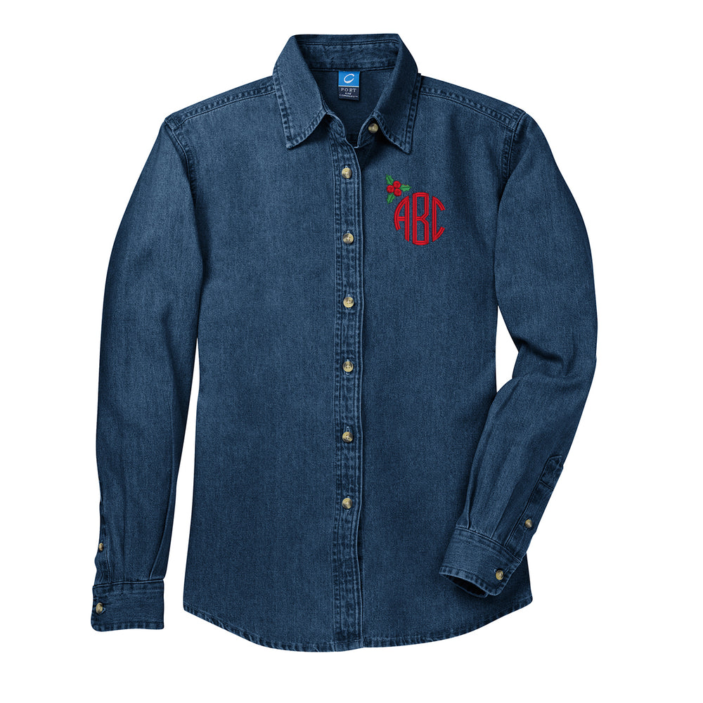 Monogrammed 'Holly' Denim Shirt