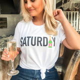 shelby lowery 'Saturday' Monogram t-shirt woth champagne
