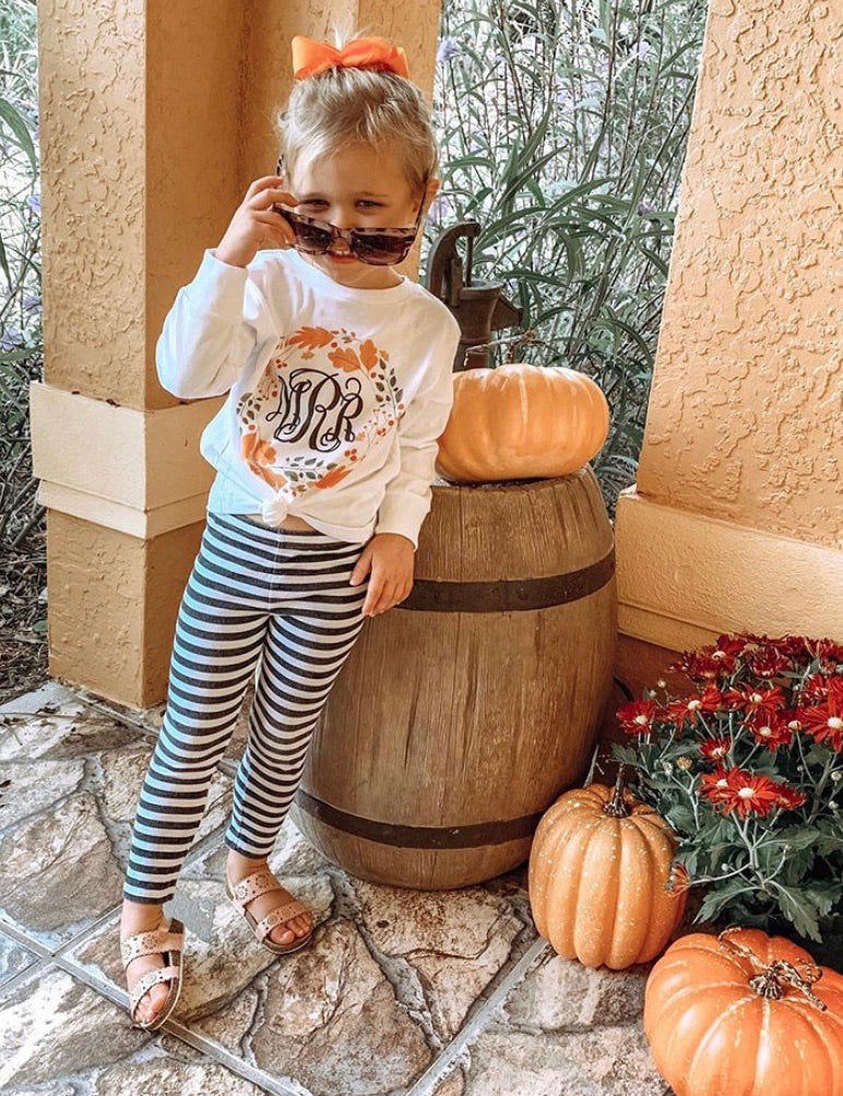 Kids Monogrammed 'Autumn Wreath' Long Sleeve T-Shirt