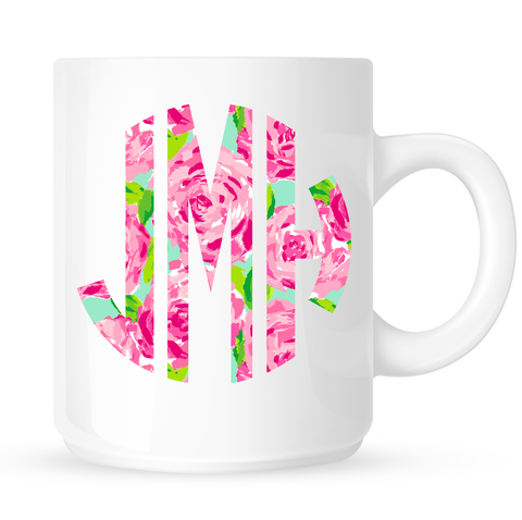 Monogrammed Lilly Print Coffee Mug