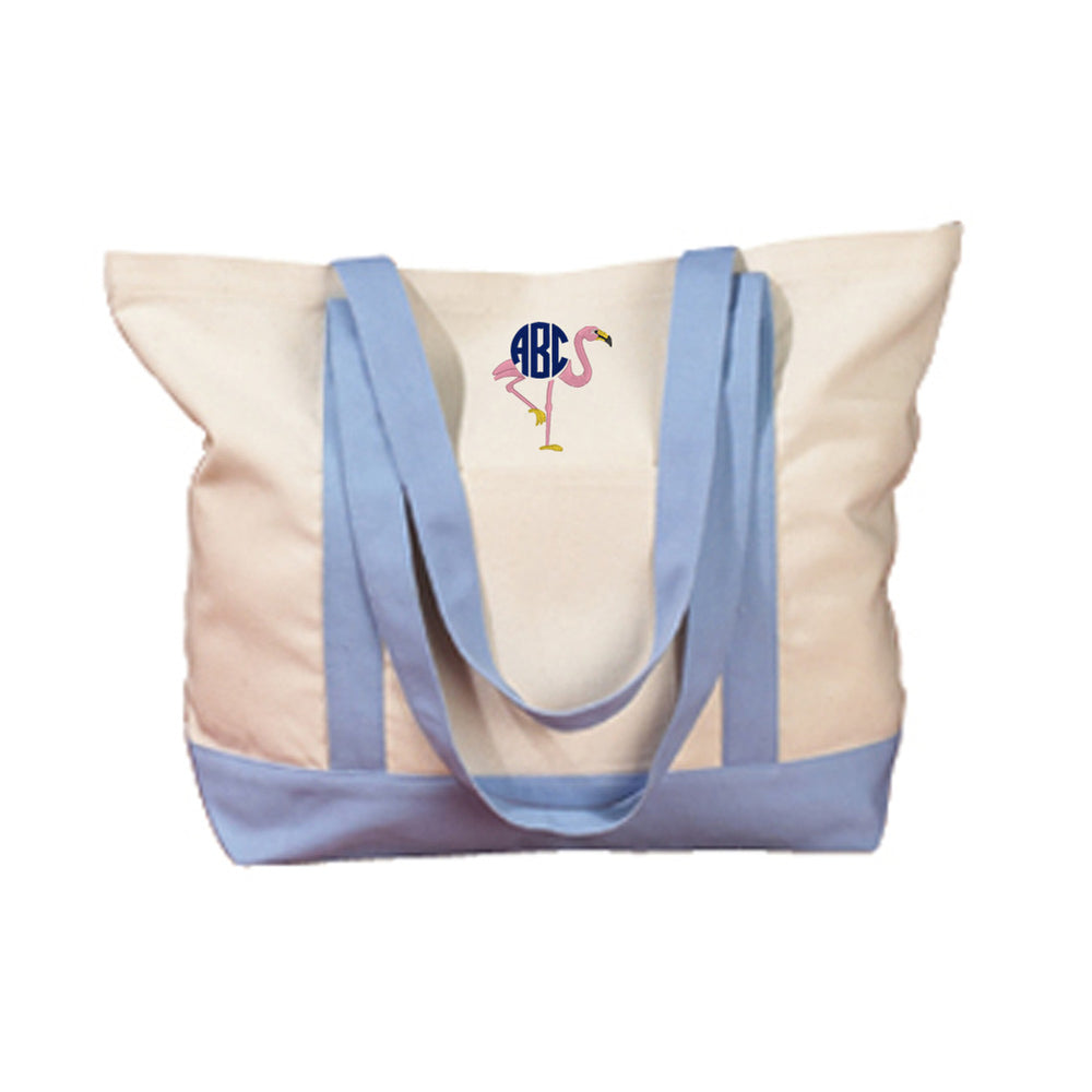 Monogrammed Flamingo Beach Pool Canvas Tote Bag
