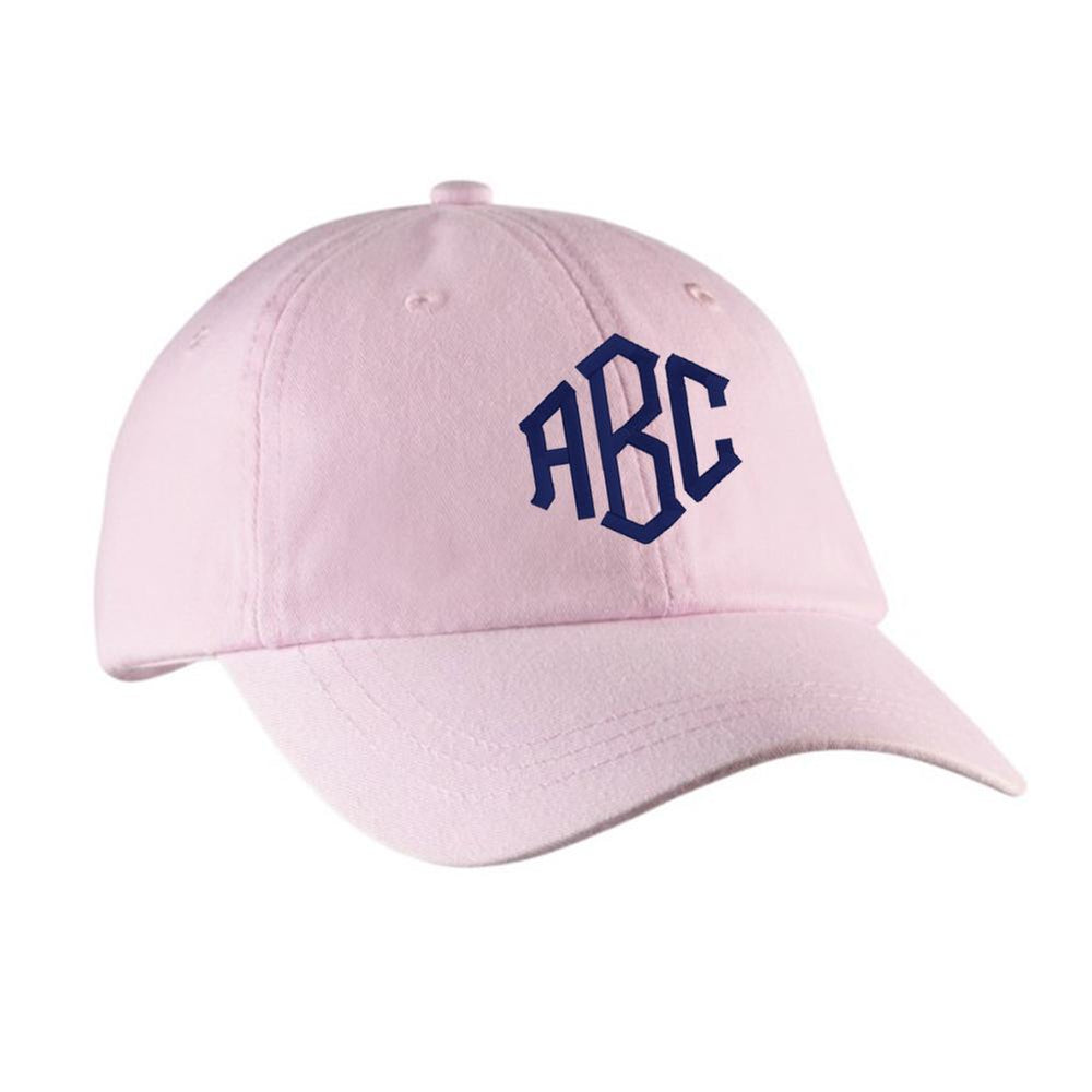 Pink Hat with Embroidered Monogram