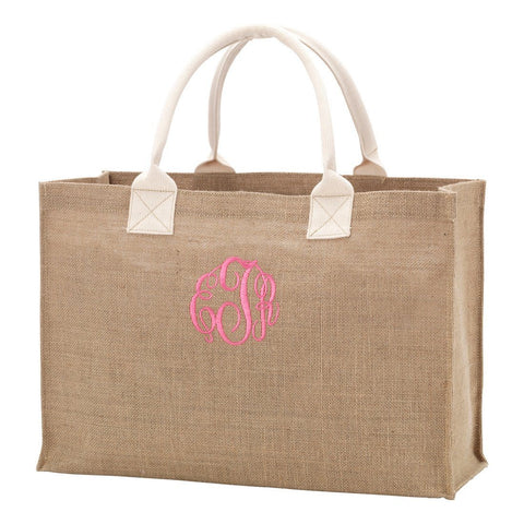 burlap tote bag hot pink monogram