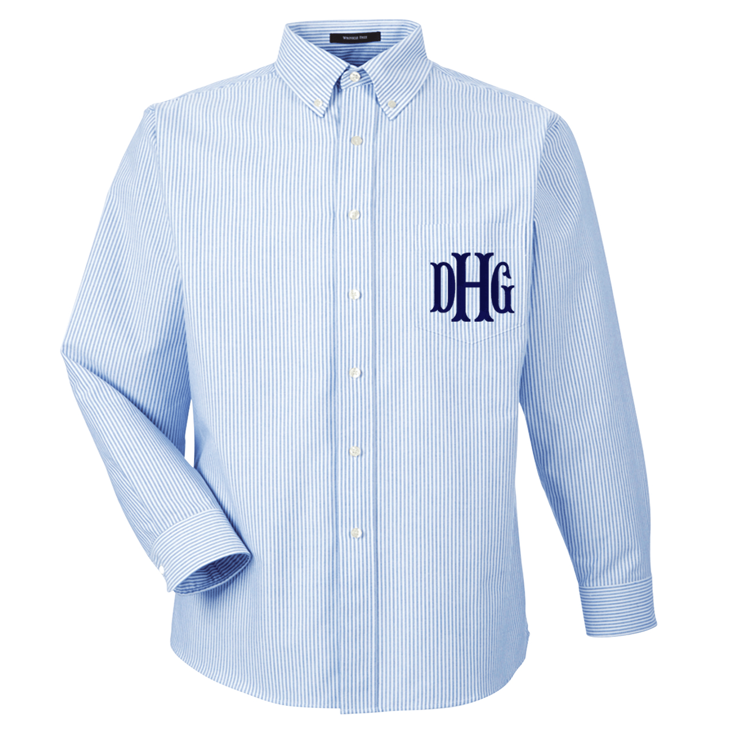 Monogrammed oversized long sleeve oxford united monograms for Initials on dress shirts