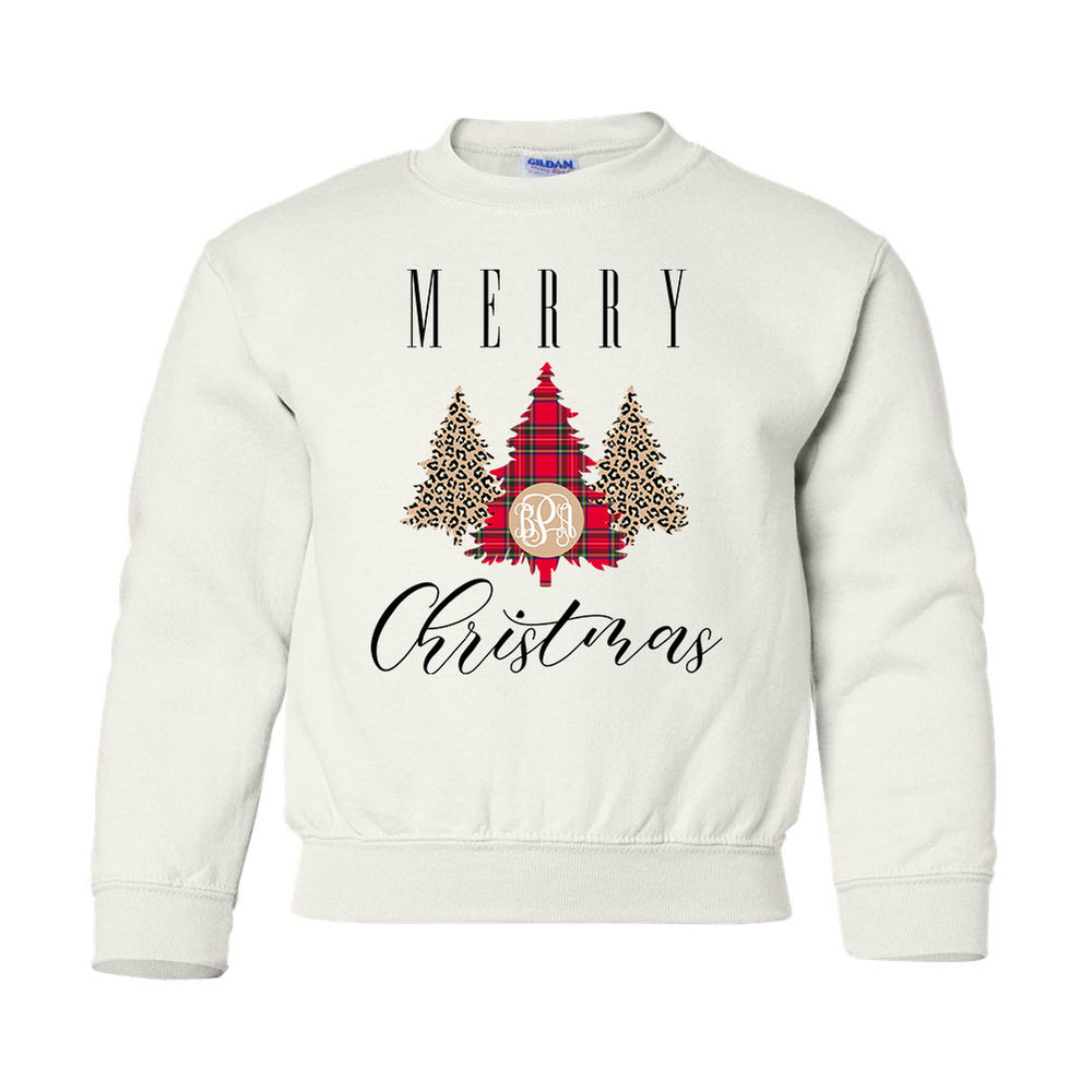Kids Monogrammed 'Merry Christmas' Pattern Crewneck Sweatshirt