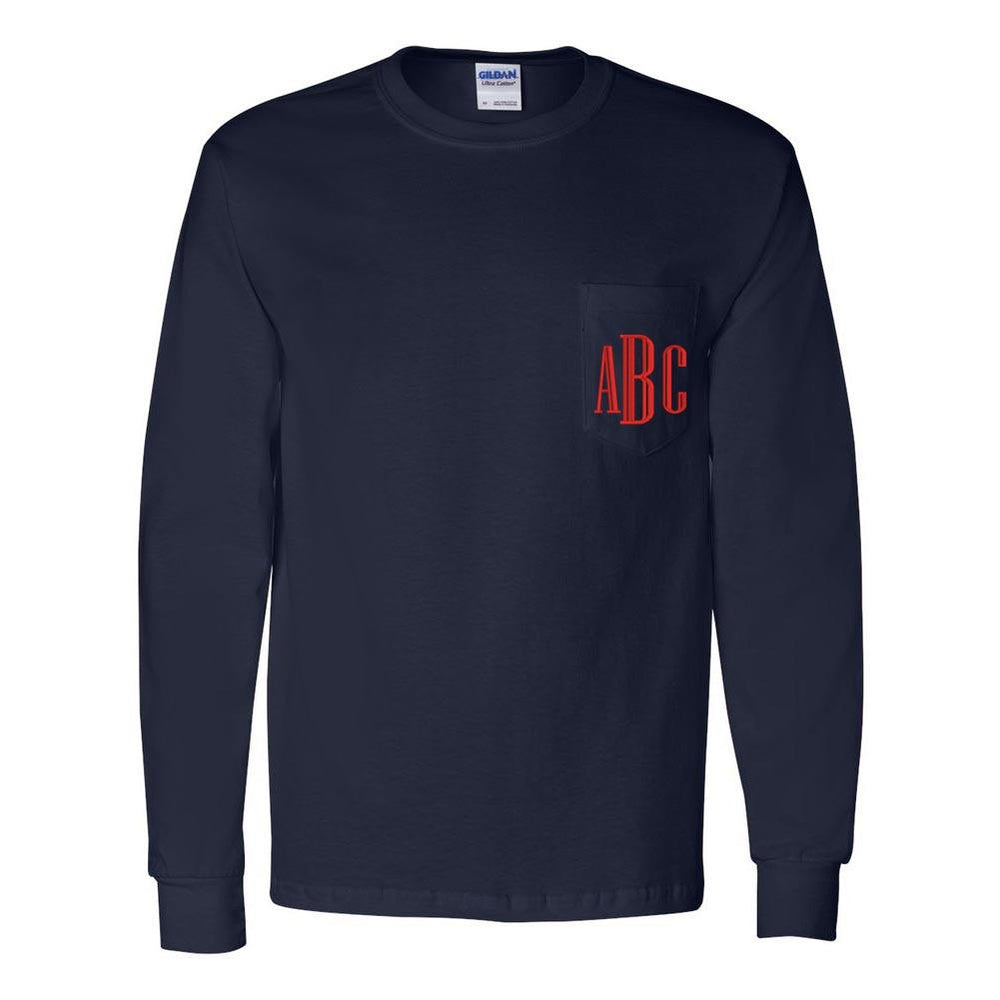 Monogrammed Long Sleeve Pocket
