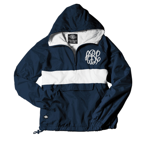 Monogrammed Striped Pullover Charles River Rain Jacket
