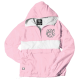Monogrammed Striped Pullover Rain Jacket Pink and White