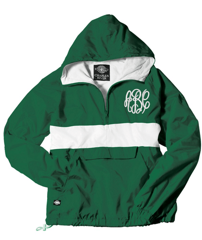 Monogrammed Striped Pullover Rain Jacket Forest and White