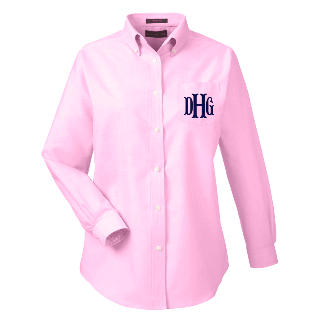 Monogrammed Ladies Long Sleeve Oxford