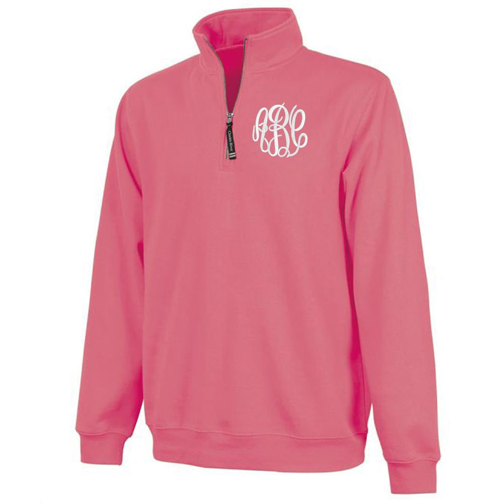 Pink Quarter Zip Monogram