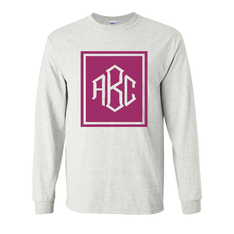 9473f89987 Monogrammed  Rectangular Diamond  Long Sleeve T-Shirt