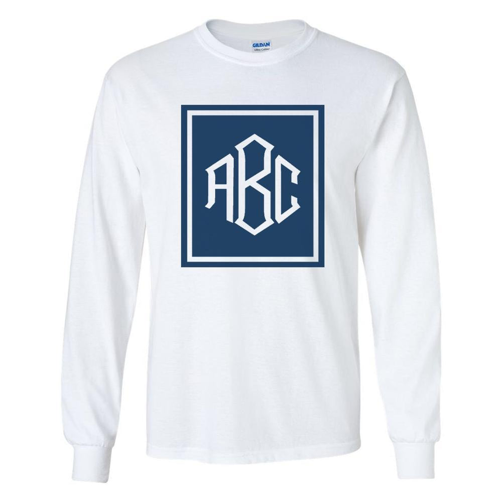 Monogrammed 'Rectangular Diamond' Long Sleeve T-Shirt