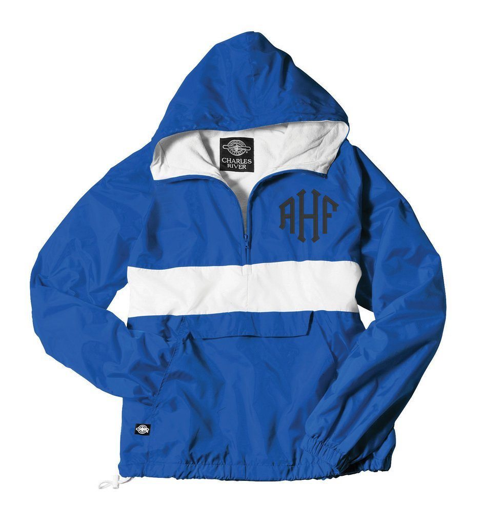 Royal Blue Rain Jacket customized embroidered initials