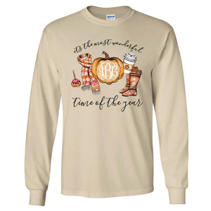 Fall Monogrammed Long Sleeve Tee