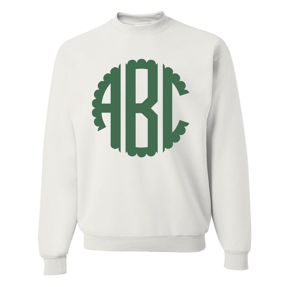 Monogrammed Scalloped Circle Big Print Crewneck Sweatshirt