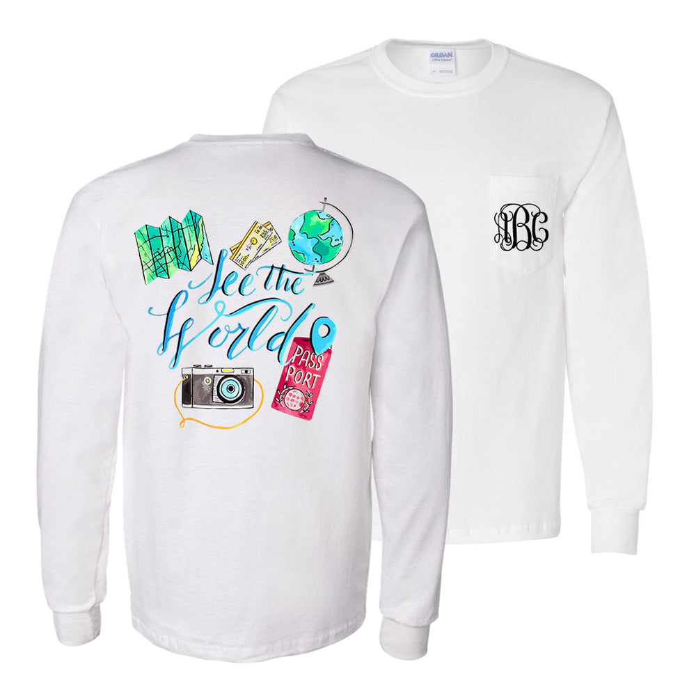 Monogrammed See The World Travel Long Sleeve Shirt