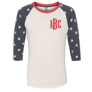 Monogrammed Stars and Stripes Baseball Tee Fourth of July