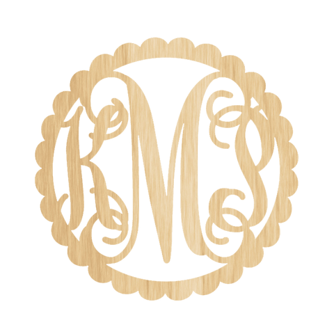 Wooden Monogram - Intertwined with Scallop Border