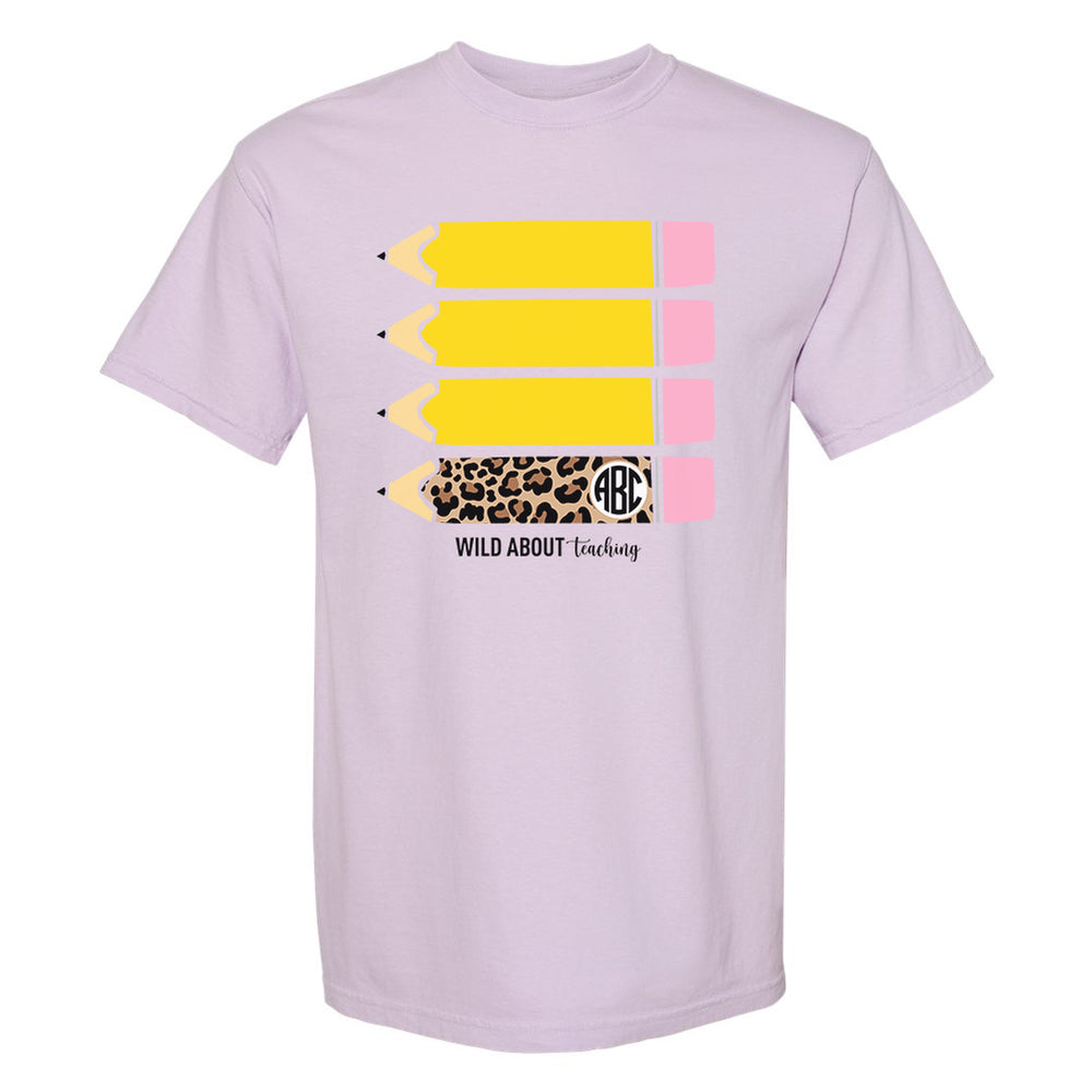 Monogrammed Leopard Pencils Wild About Teaching Tee