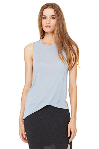 High Low Muscle Tank, Lake Blue