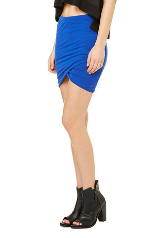 Shirred Cross Front Skirt, Sapphire - Killer Dolce