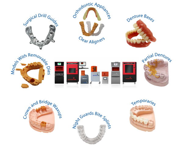 EnvisionTEC Dental 3D Printers for Surgical Drill Guides, Orthodontic Appliances, Clear Aligners, Denture Bases, Partial Dentures, Temporaries, Night Guards Bite Splints, Crown & Bridge Waxups