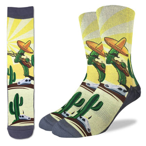 Men's Guitar Playing Cactus Socks