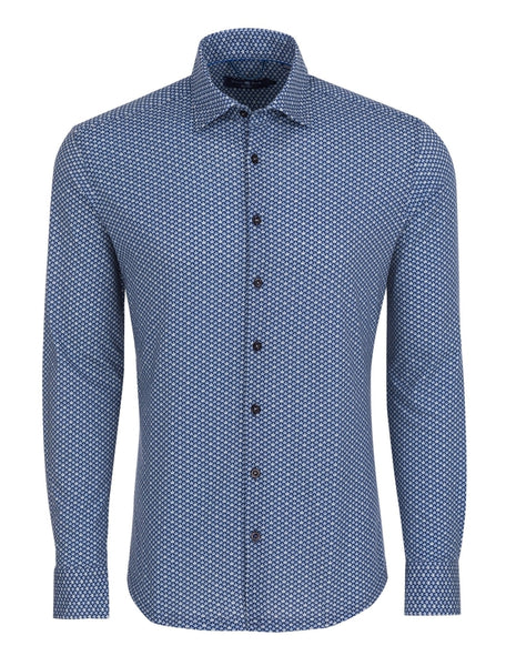 Navy Leaf Print Long Sleeve Shirt