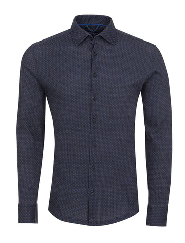 Black Herringbone Knit Long Sleeve Shirt