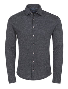 Black Jacquard Knit Long Sleeve Shirt