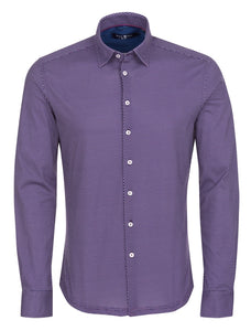 Purple Geometric Knit Long Sleeve Shirt