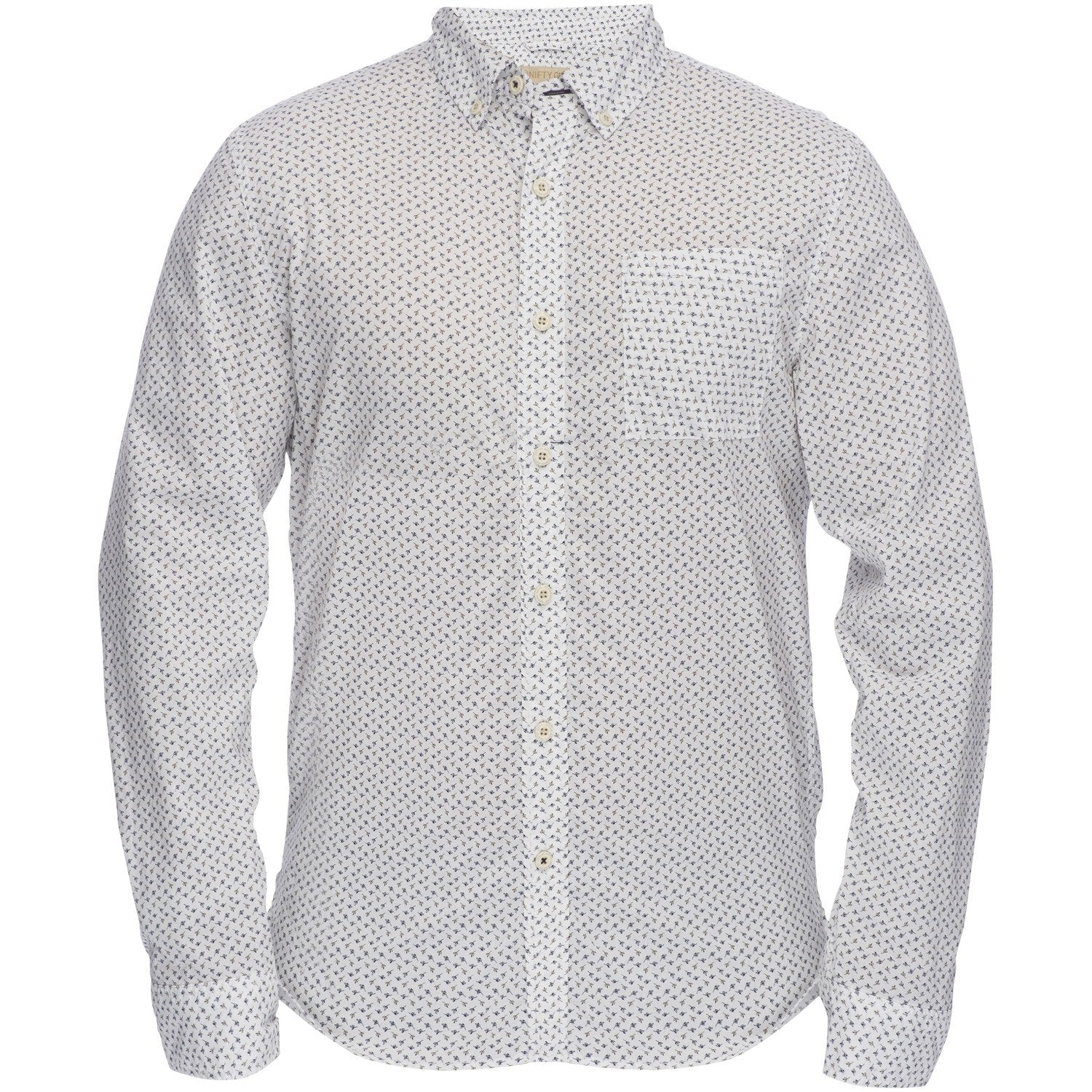 Truman Button Collar in White/Brown/Blue Print