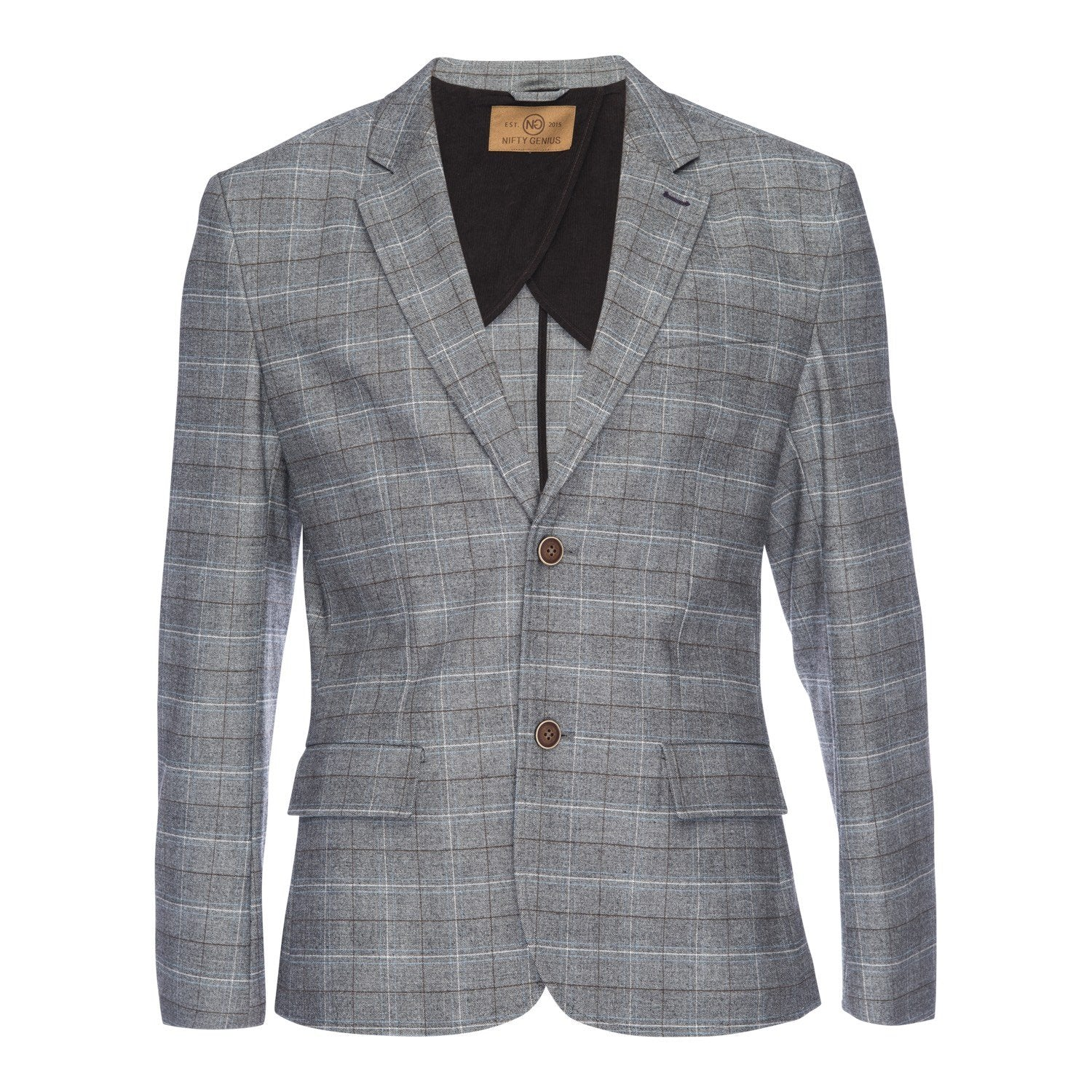 Kurt Notched Lapel Stretch Blazer in Gray Plaid