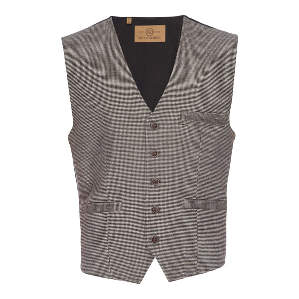 Albert Stretch Vest in Houndstooth